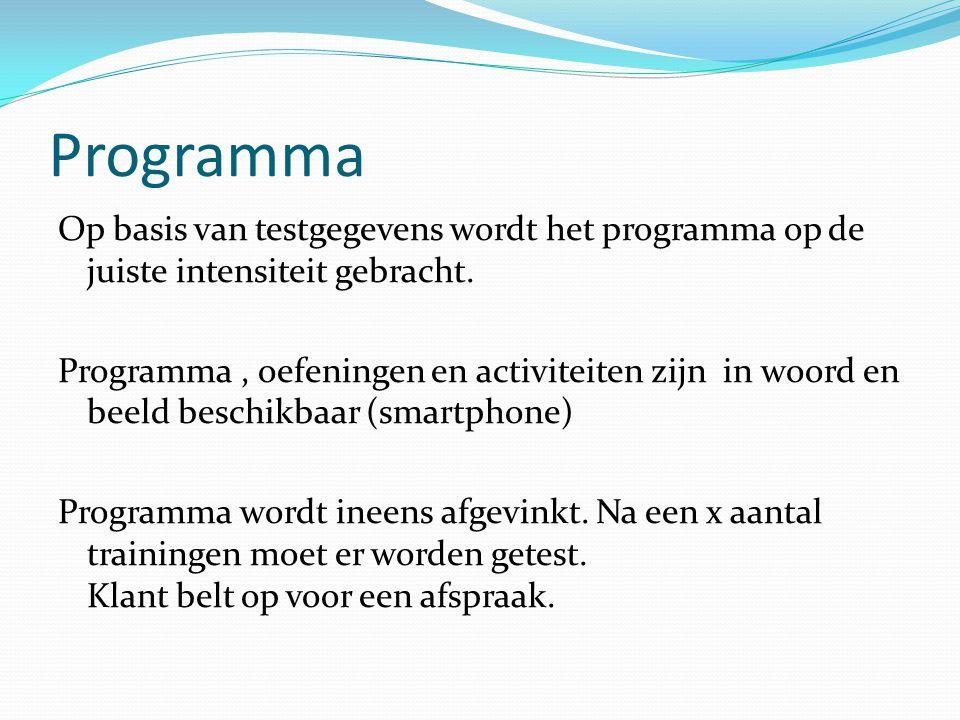 Programma Op basis van testgegevens wordt het programma op de juiste intensiteit gebracht. Programma, oefeningen en activiteiten zijn in woord en beel