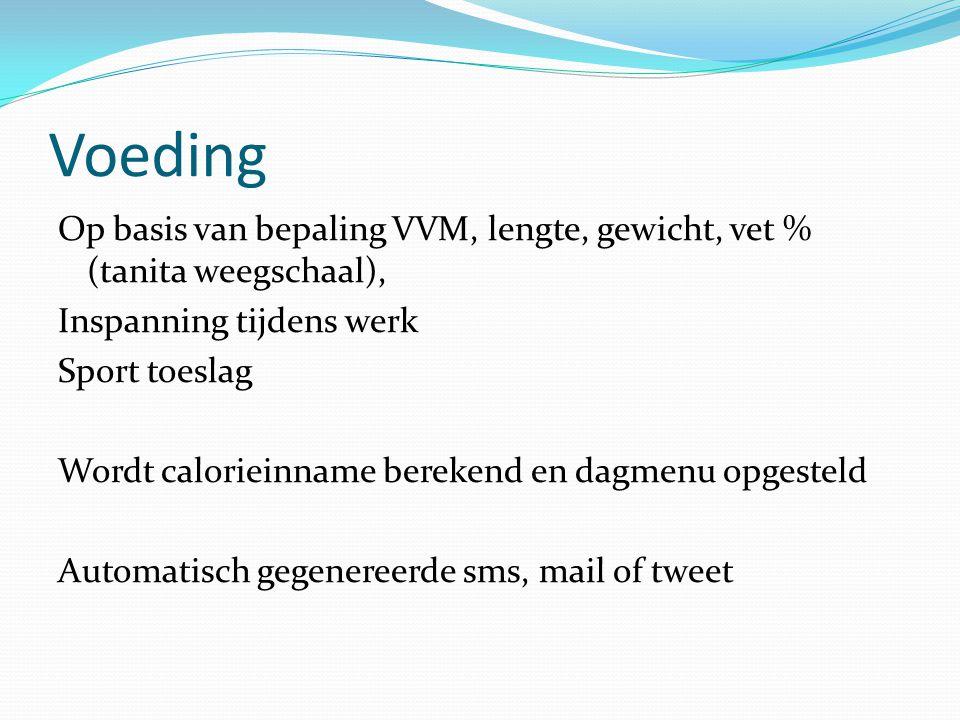 Voeding Op basis van bepaling VVM, lengte, gewicht, vet % (tanita weegschaal), Inspanning tijdens werk Sport toeslag Wordt calorieinname berekend en d