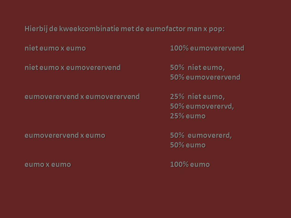 Hierbij de kweekcombinatie met de eumofactor man x pop: niet eumo x eumo 100% eumoverervend niet eumo x eumoverervend 50% niet eumo, 50% eumoverervend eumoverervend x eumoverervend 25% niet eumo, 50% eumoverervd, 25% eumo eumoverervend x eumo 50% eumovererd, 50% eumo eumo x eumo 100% eumo