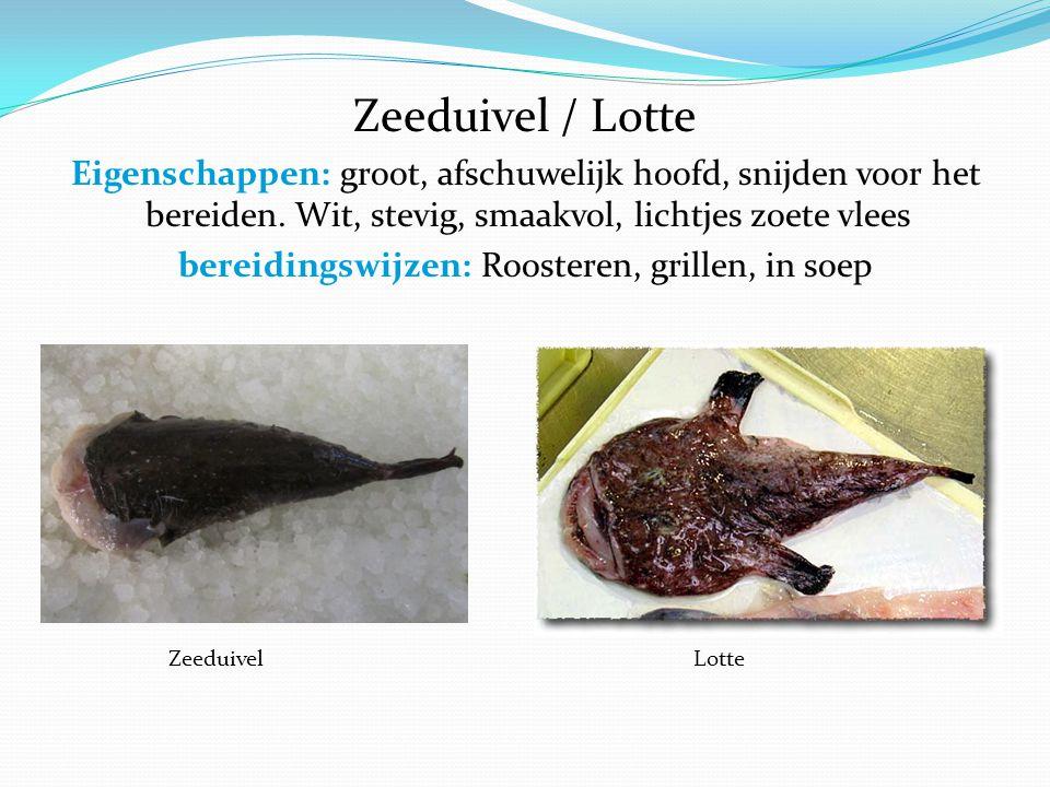 Zeeduivel / Lotte Eigenschappen: groot, afschuwelijk hoofd, snijden voor het bereiden.