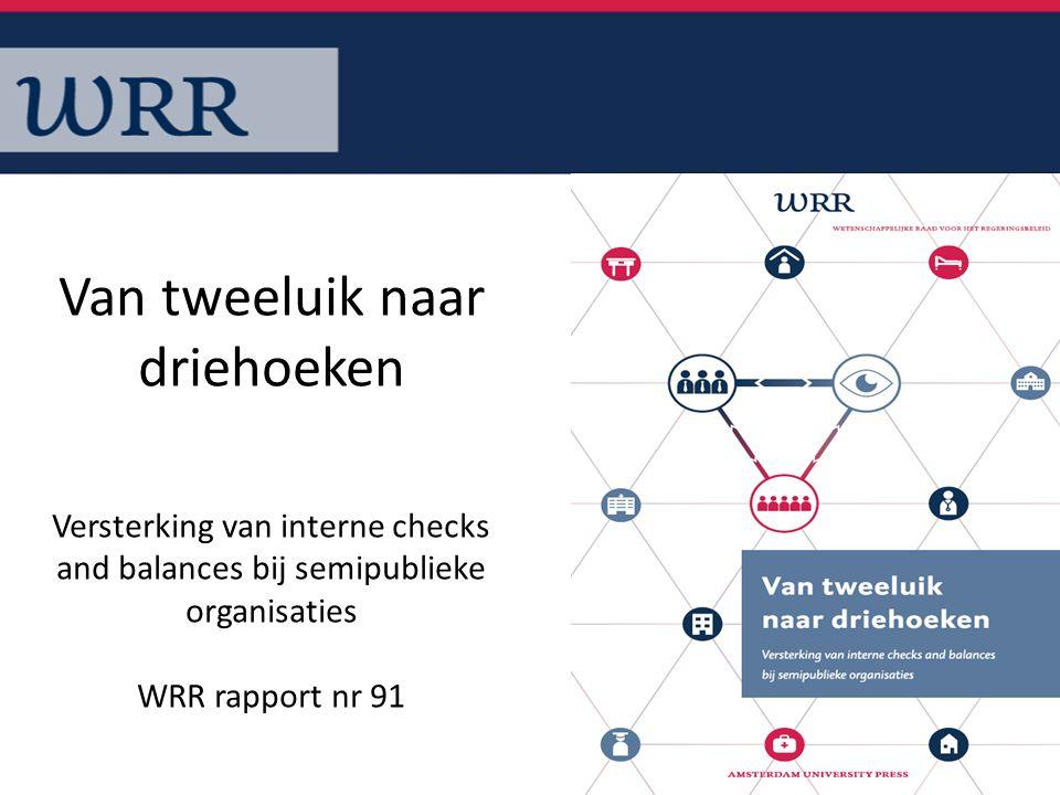 1 Van tweeluik naar driehoeken Versterking van interne checks and balances bij semipublieke organisaties WRR rapport nr 91