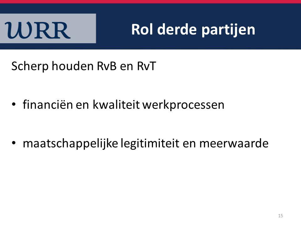 Rol derde partijen Scherp houden RvB en RvT financiën en kwaliteit werkprocessen maatschappelijke legitimiteit en meerwaarde 15