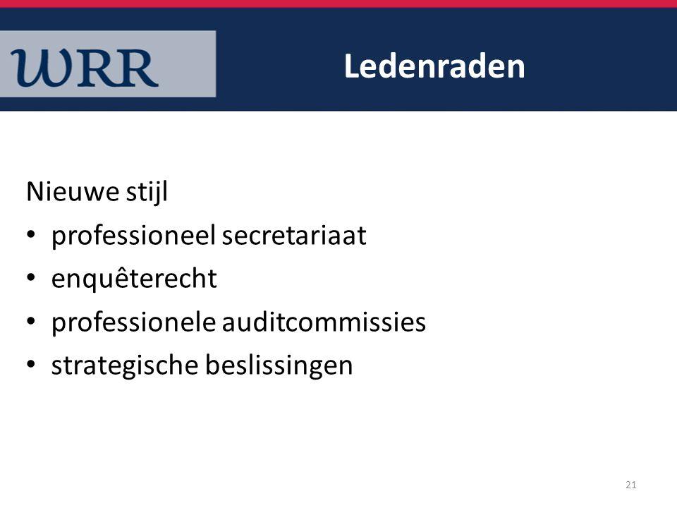 Ledenraden Nieuwe stijl professioneel secretariaat enquêterecht professionele auditcommissies strategische beslissingen 21