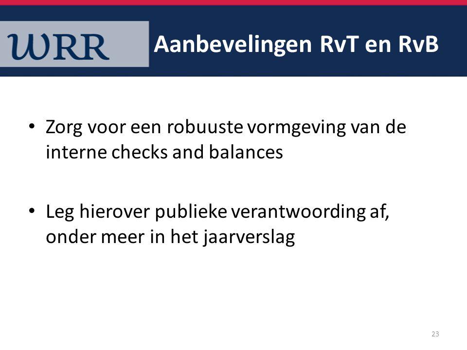 Aanbevelingen RvT en RvB Zorg voor een robuuste vormgeving van de interne checks and balances Leg hierover publieke verantwoording af, onder meer in h