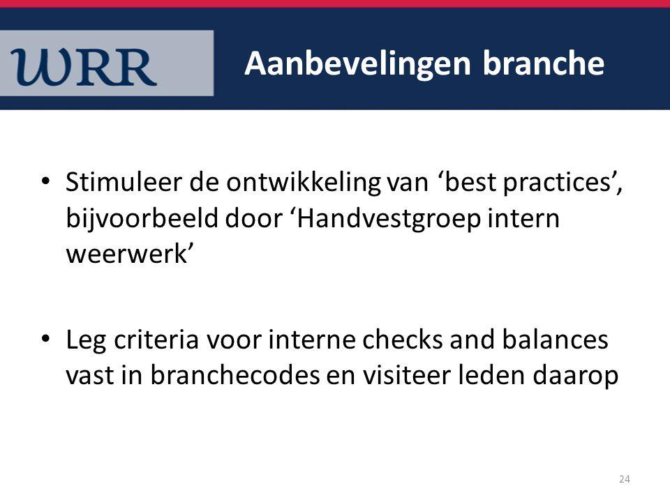 Aanbevelingen branche Stimuleer de ontwikkeling van 'best practices', bijvoorbeeld door 'Handvestgroep intern weerwerk' Leg criteria voor interne chec