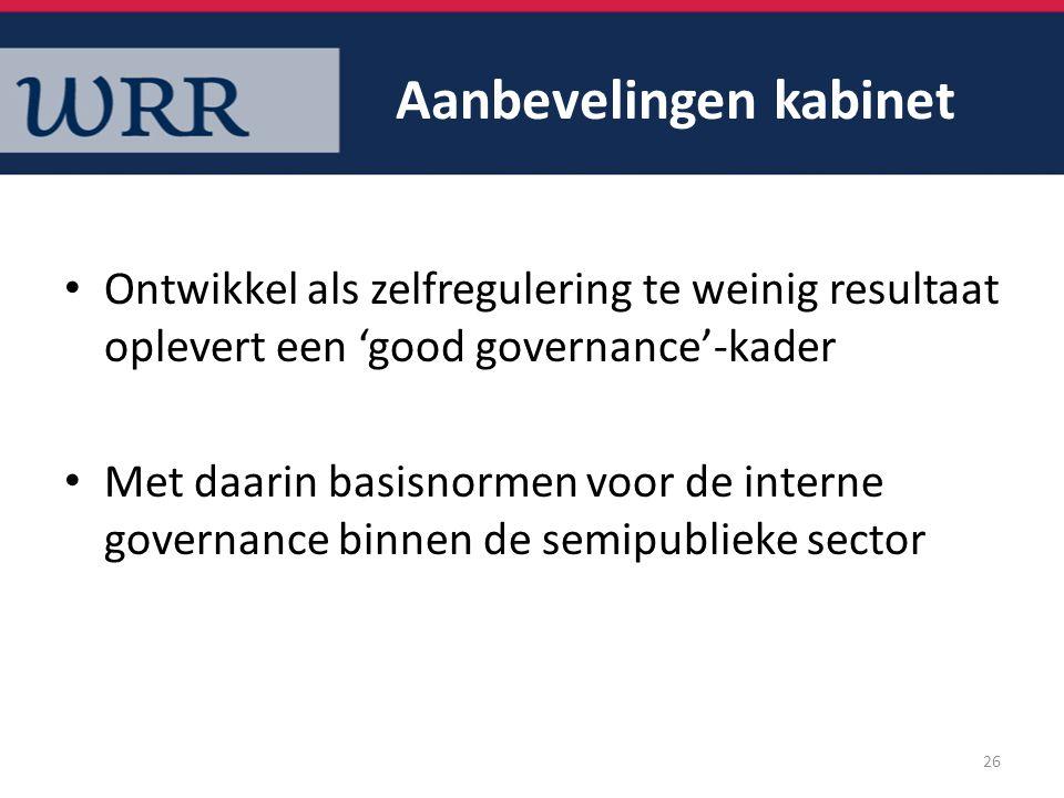 Aanbevelingen kabinet Ontwikkel als zelfregulering te weinig resultaat oplevert een 'good governance'-kader Met daarin basisnormen voor de interne gov