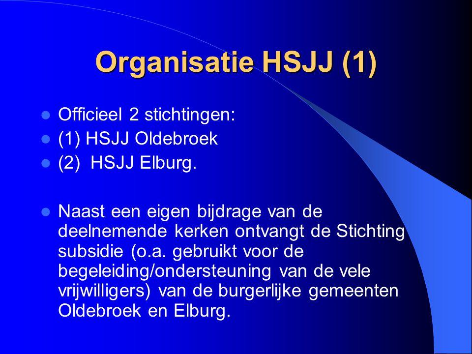 Organisatie HSJJ (1) Officieel 2 stichtingen: (1) HSJJ Oldebroek (2) HSJJ Elburg. Naast een eigen bijdrage van de deelnemende kerken ontvangt de Stich