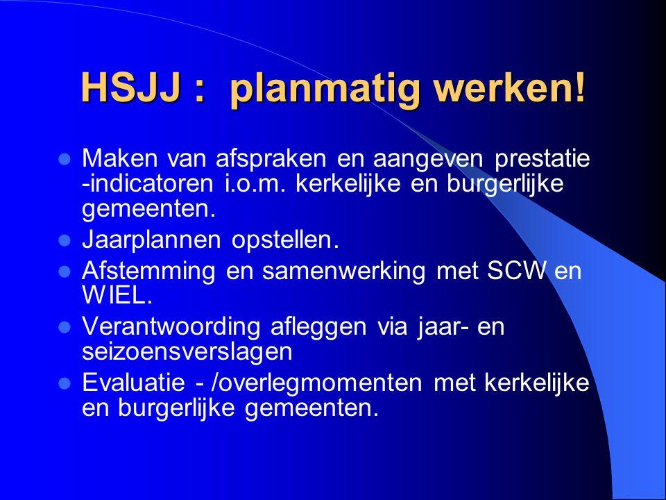 HSJJ : planmatig werken! Maken van afspraken en aangeven prestatie -indicatoren i.o.m. kerkelijke en burgerlijke gemeenten. Jaarplannen opstellen. Afs