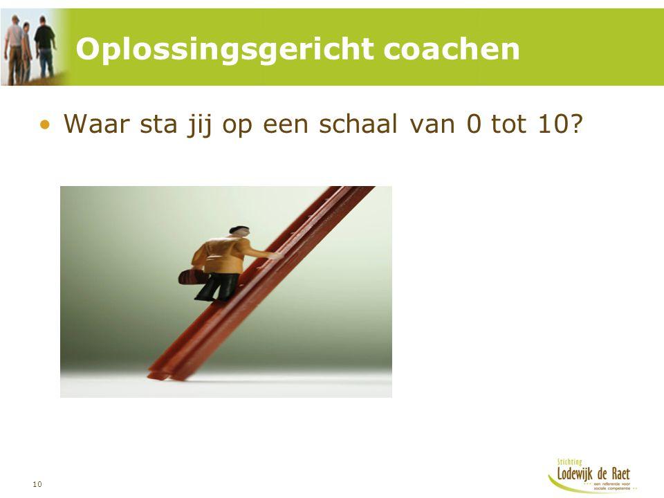10 Waar sta jij op een schaal van 0 tot 10? Oplossingsgericht coachen