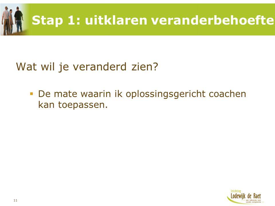 11 Wat wil je veranderd zien?  De mate waarin ik oplossingsgericht coachen kan toepassen. Stap 1: uitklaren veranderbehoefte
