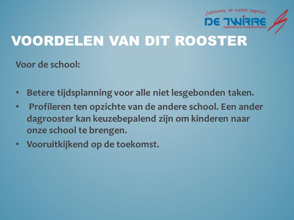 VOORDELEN VAN DIT ROOSTER Voor de school: Betere tijdsplanning voor alle niet lesgebonden taken.