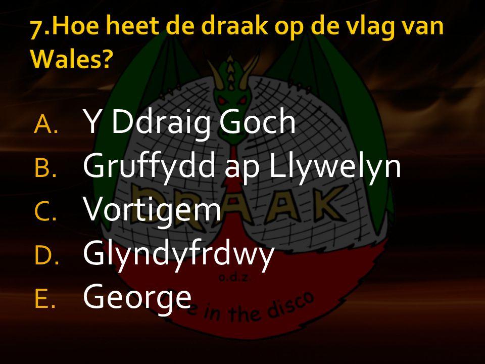 A. Y Ddraig Goch B. Gruffydd ap Llywelyn C. Vortigem D. Glyndyfrdwy E. George