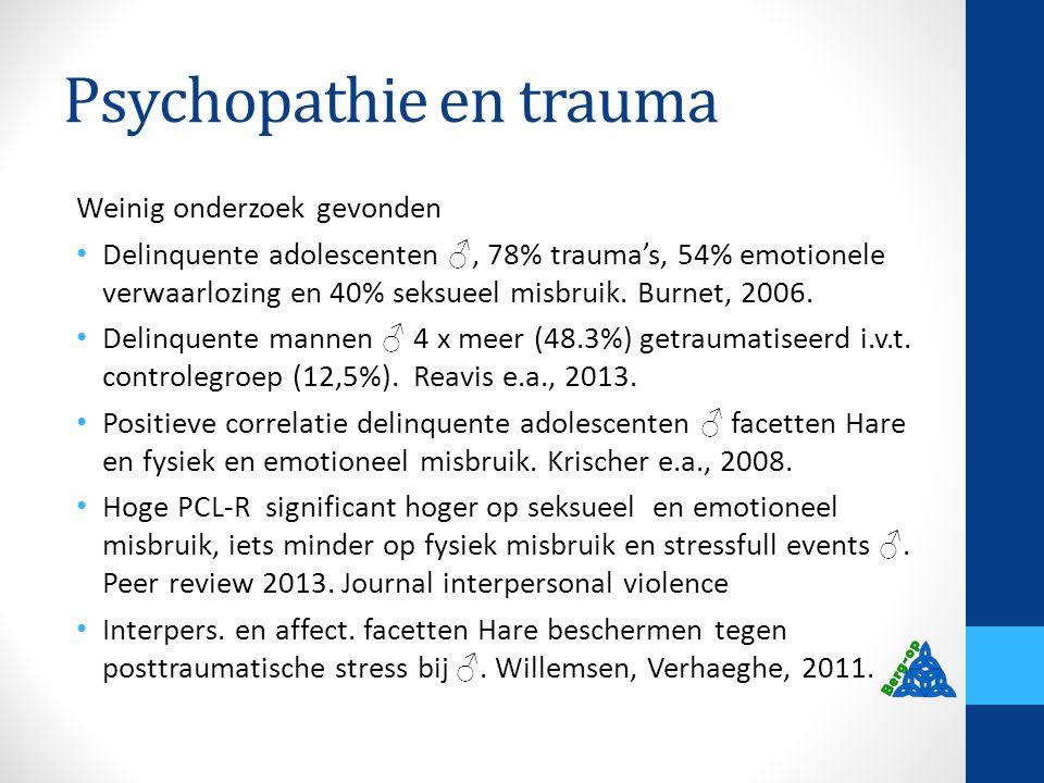 Psychopathie en trauma Weinig onderzoek gevonden Delinquente adolescenten ♂, 78% trauma's, 54% emotionele verwaarlozing en 40% seksueel misbruik. Burn