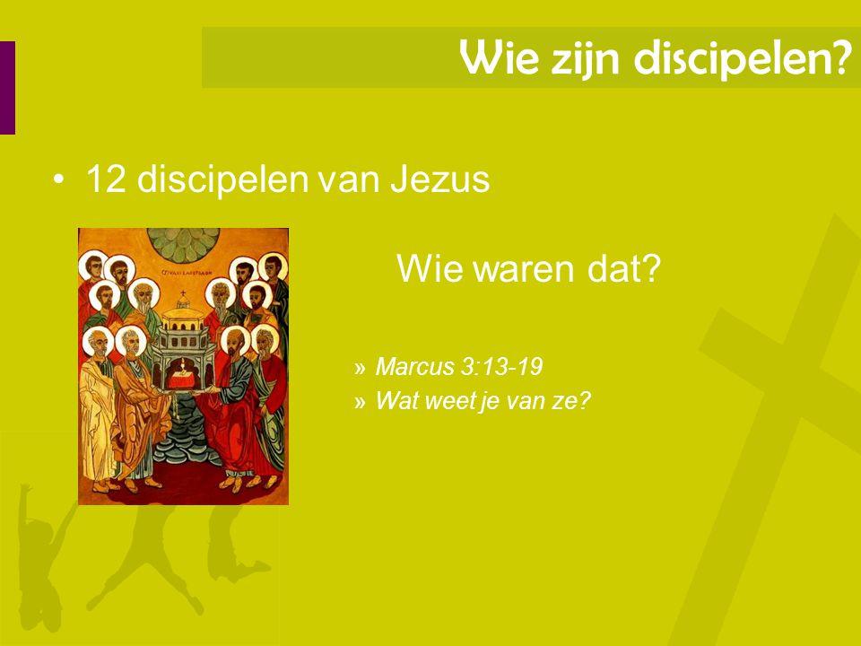 12 discipelen van Jezus Wie waren dat? »Marcus 3:13-19 »Wat weet je van ze? Wie zijn discipelen?
