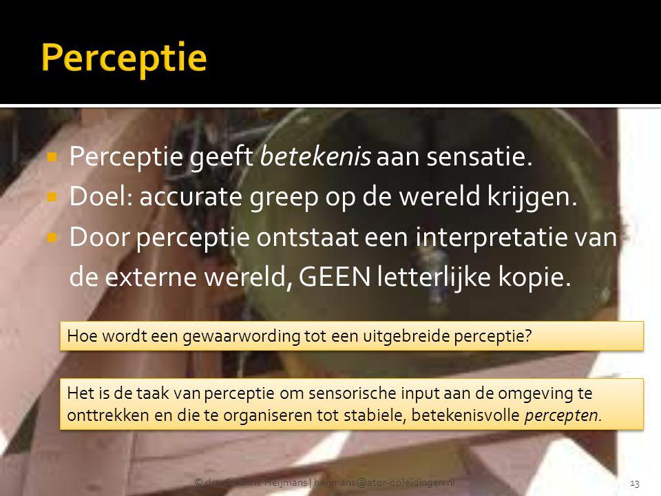  Perceptie geeft betekenis aan sensatie.  Doel: accurate greep op de wereld krijgen.  Door perceptie ontstaat een interpretatie van de externe were
