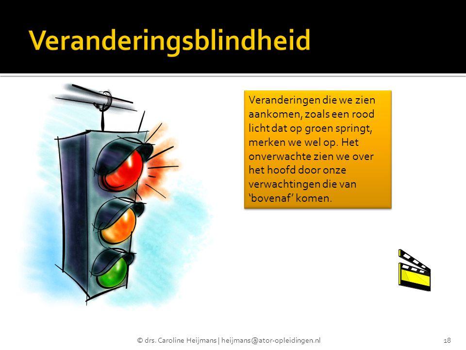 © drs. Caroline Heijmans | heijmans@ator-opleidingen.nl18 Veranderingen die we zien aankomen, zoals een rood licht dat op groen springt, merken we wel