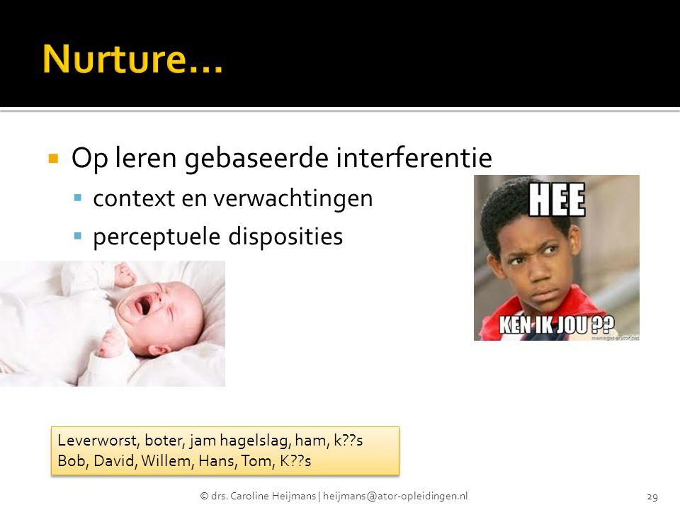  Op leren gebaseerde interferentie  context en verwachtingen  perceptuele disposities © drs. Caroline Heijmans | heijmans@ator-opleidingen.nl29 Lev