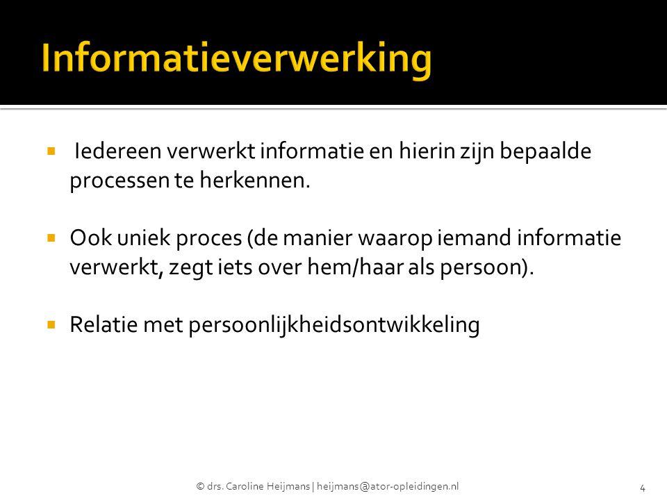  Iedereen verwerkt informatie en hierin zijn bepaalde processen te herkennen.  Ook uniek proces (de manier waarop iemand informatie verwerkt, zegt i