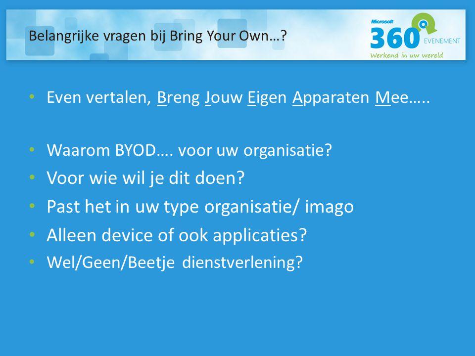 Belangrijke vragen bij Bring Your Own…? Even vertalen, Breng Jouw Eigen Apparaten Mee….. Waarom BYOD…. voor uw organisatie? Voor wie wil je dit doen?