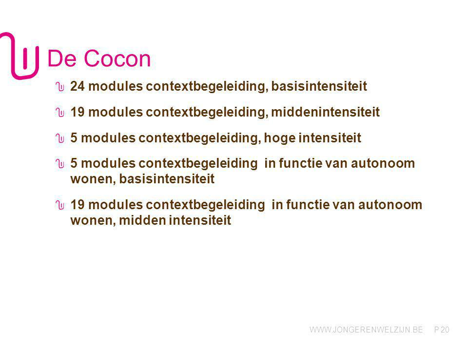 WWW.JONGERENWELZIJN.BE P De Cocon 24 modules contextbegeleiding, basisintensiteit 19 modules contextbegeleiding, middenintensiteit 5 modules contextbe