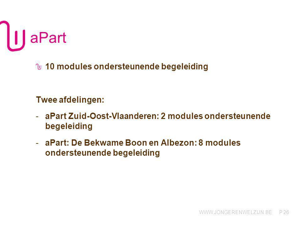 WWW.JONGERENWELZIJN.BE P Stappen 12 modules verblijf 1bis 3 modules contextbegeleiding, midden intensiteit 13 modules contextbegeleiding, hoge intensiteit 5 modules contextbegeleiding in functie van autonoom wonen, midden intensiteit 1 module ondersteunende begeleiding 27