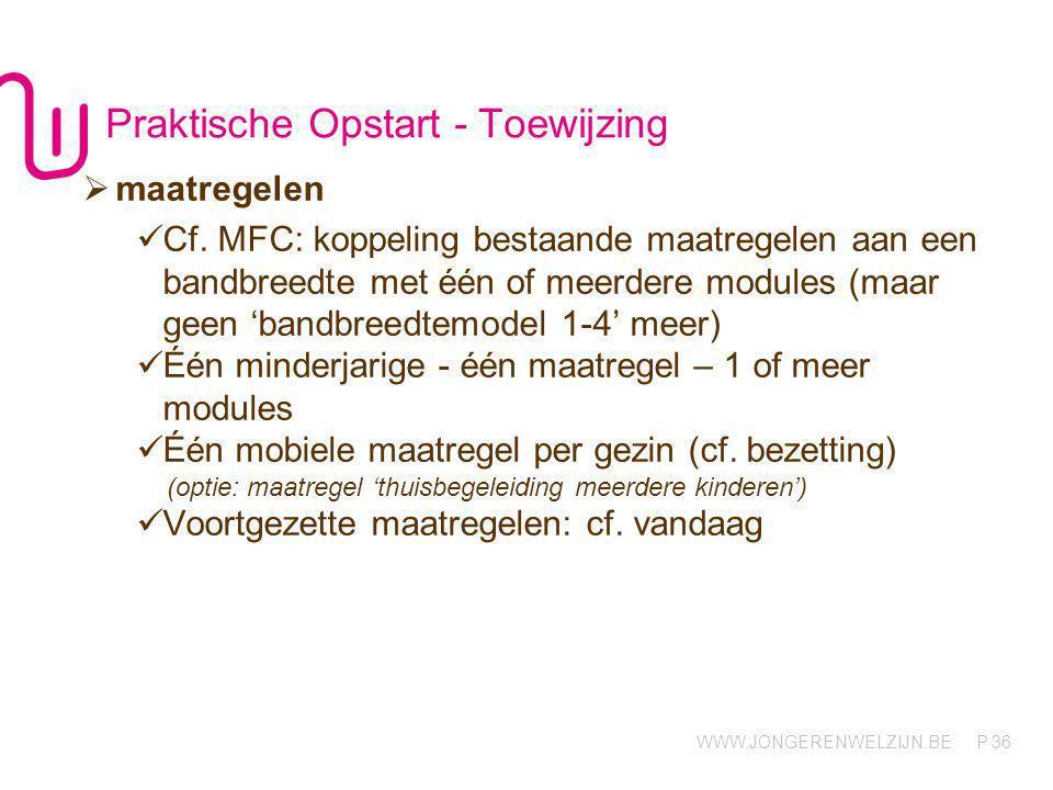 WWW.JONGERENWELZIJN.BE P Toewijzing 37  Maatregelen: modules De modules 'contextbegeleiding', 'contextbegeleiding i.f.v.