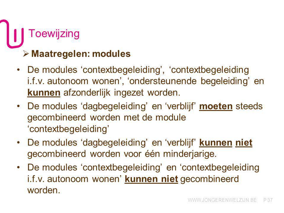 WWW.JONGERENWELZIJN.BE P 38 Aard maatregel Minimale modules Optionele modules Registratie in Domino CBJJRB POSJRB MOFBXL Ord Art 69 2°Art 38 §1, 3°Art 37 §2, 7°Art 10 §1, 3°CBCrisis Ond.