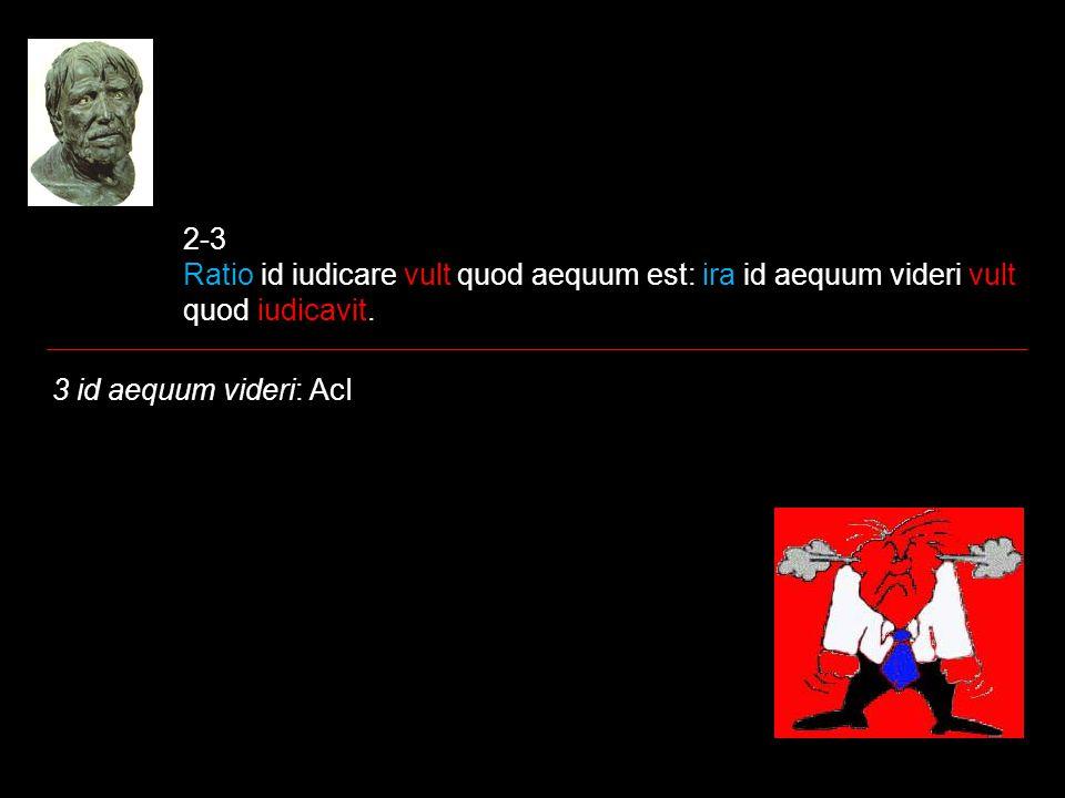 2-3 Ratio id iudicare vult quod aequum est: ira id aequum videri vult quod iudicavit. 3 id aequum videri: AcI