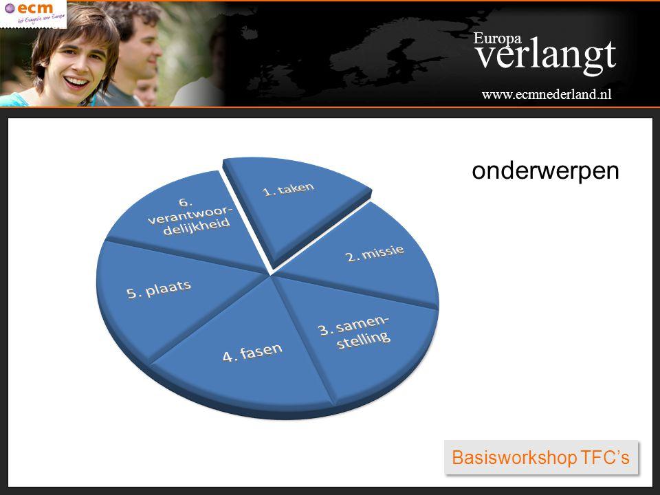 Basisworkshop TFC's Hoofdtaken TFC Geestelijke ondersteuning Praktische ondersteuning Financieel administratieve ondersteuning Morele ondersteuning Communicatieve/PR ondersteuning Europa verlangt www.ecmnederland.nl