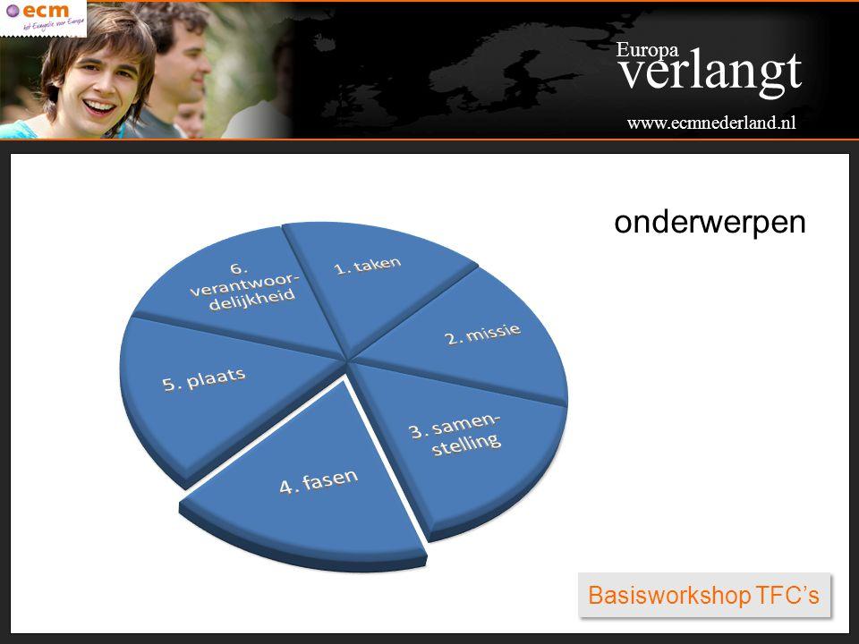 Basisworkshop TFC's onderwerpen Europa verlangt www.ecmnederland.nl