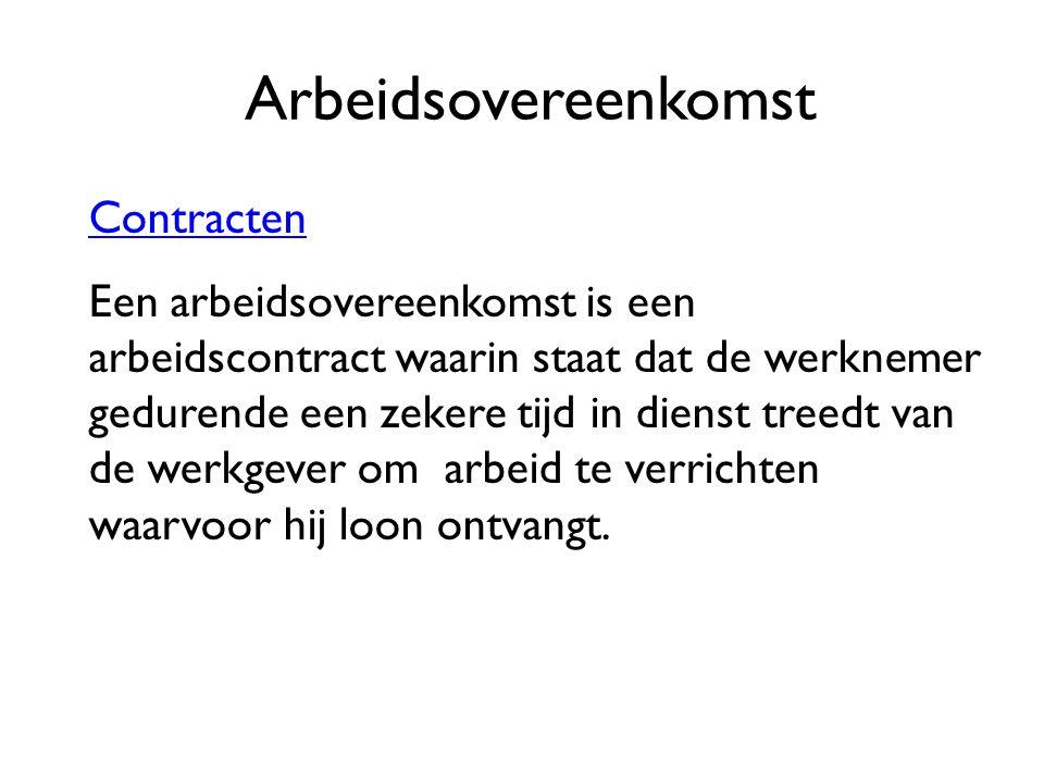 Arbeidsovereenkomst Contracten Een arbeidsovereenkomst is een arbeidscontract waarin staat dat de werknemer gedurende een zekere tijd in dienst treedt