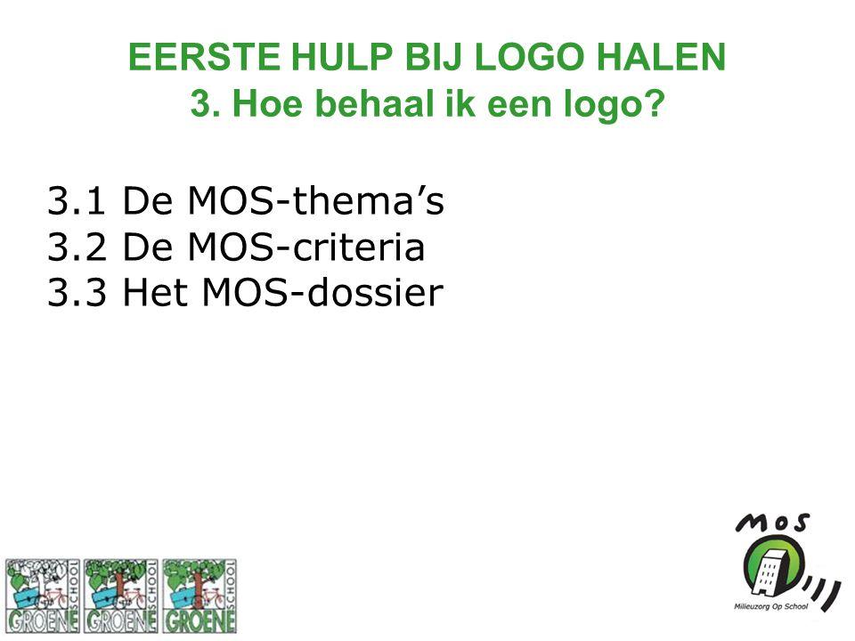 EERSTE HULP BIJ LOGO HALEN 3. Hoe behaal ik een logo? 3.1 De MOS-thema's 3.2 De MOS-criteria 3.3 Het MOS-dossier