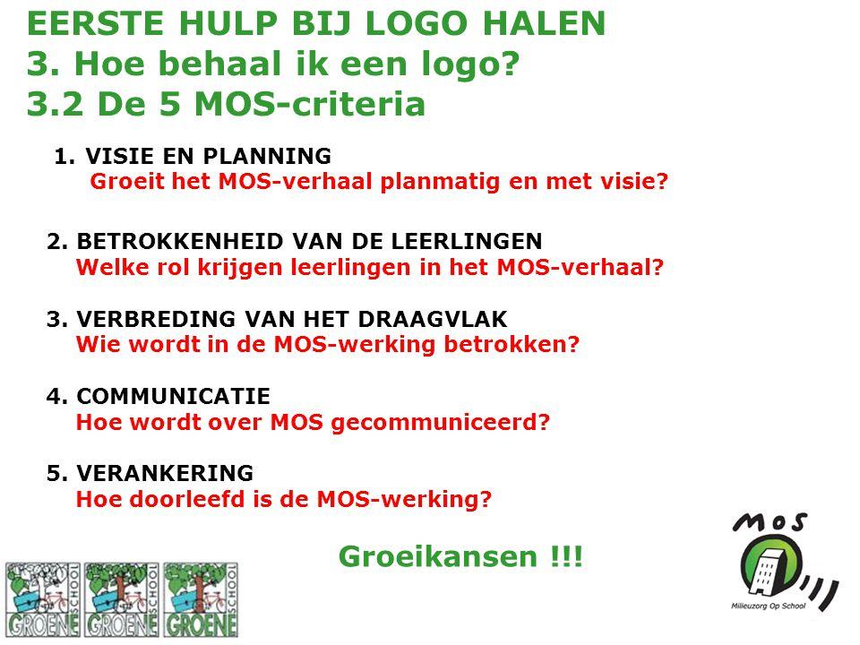 EERSTE HULP BIJ LOGO HALEN 3. Hoe behaal ik een logo? 3.2 De 5 MOS-criteria 1.VISIE EN PLANNING Groeit het MOS-verhaal planmatig en met visie? 2. BETR