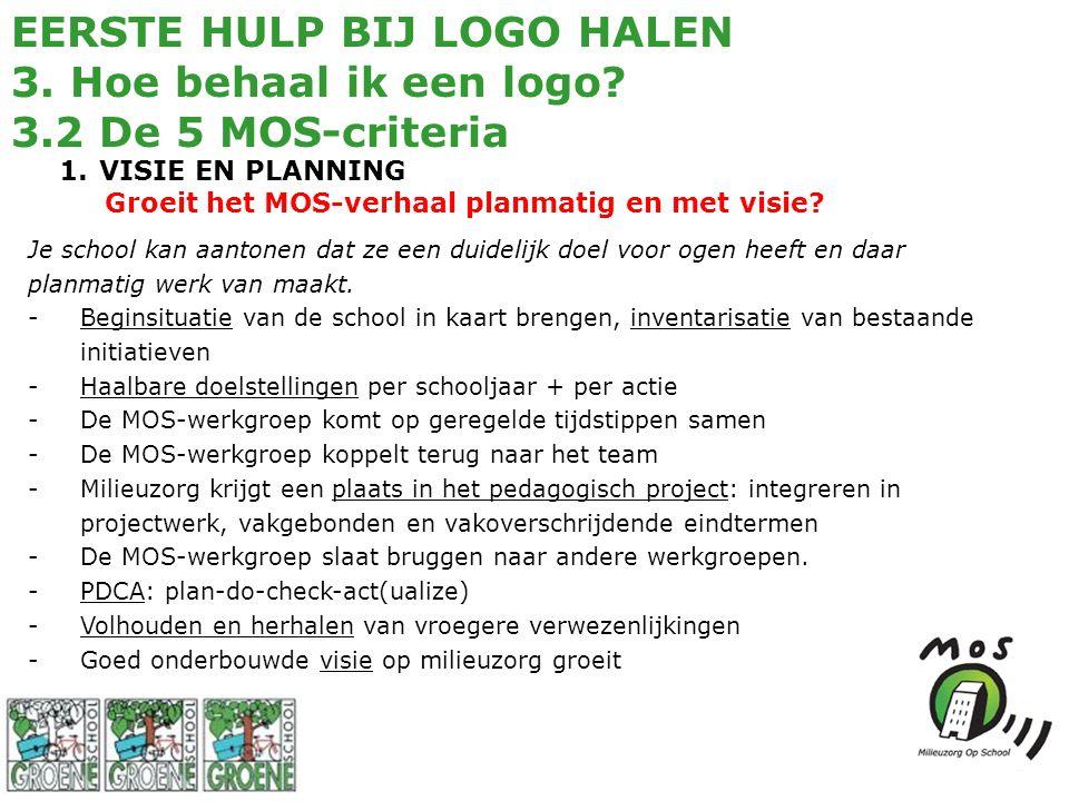 EERSTE HULP BIJ LOGO HALEN 3. Hoe behaal ik een logo? 3.2 De 5 MOS-criteria 1.VISIE EN PLANNING Groeit het MOS-verhaal planmatig en met visie? Je scho