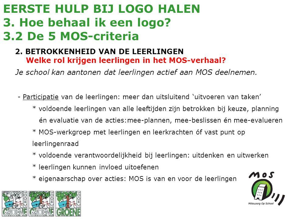 EERSTE HULP BIJ LOGO HALEN 3. Hoe behaal ik een logo? 3.2 De 5 MOS-criteria 2. BETROKKENHEID VAN DE LEERLINGEN Welke rol krijgen leerlingen in het MOS