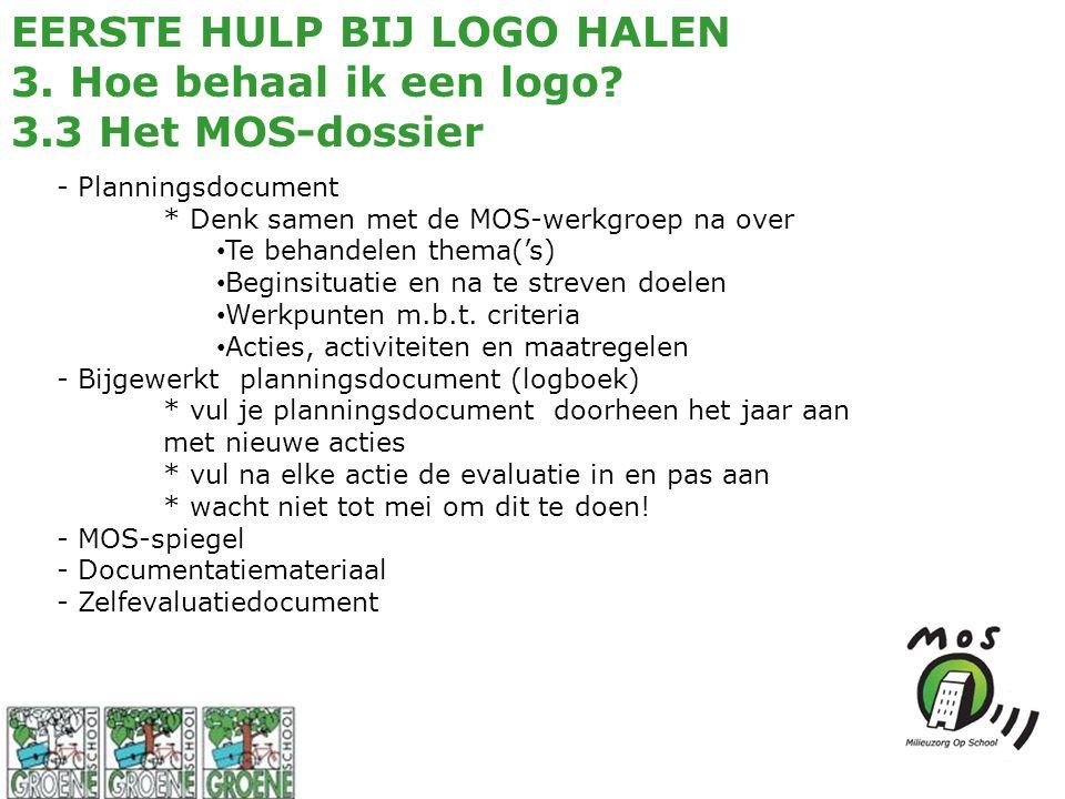 EERSTE HULP BIJ LOGO HALEN 3. Hoe behaal ik een logo? 3.3 Het MOS-dossier - Planningsdocument * Denk samen met de MOS-werkgroep na over Te behandelen