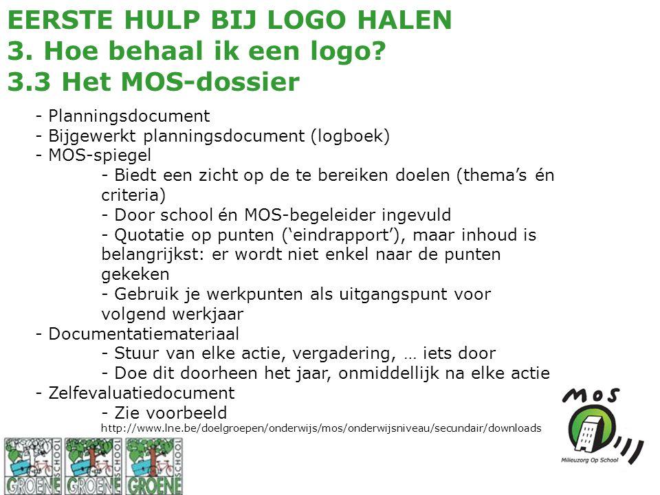 EERSTE HULP BIJ LOGO HALEN 3. Hoe behaal ik een logo? 3.3 Het MOS-dossier - Planningsdocument - Bijgewerkt planningsdocument (logboek) - MOS-spiegel -
