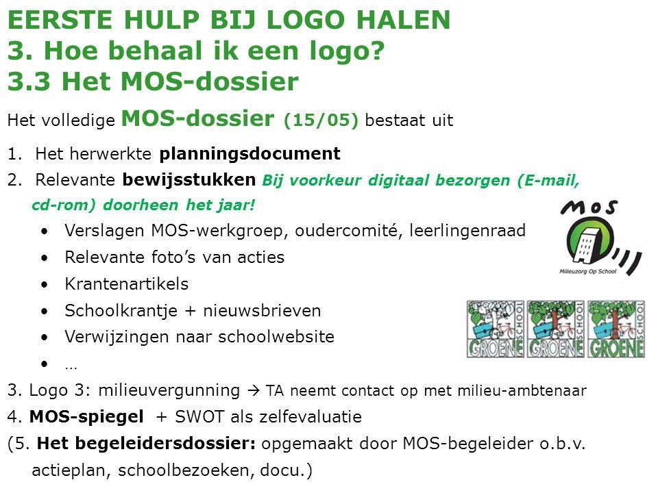 EERSTE HULP BIJ LOGO HALEN 3. Hoe behaal ik een logo? 3.3 Het MOS-dossier Het volledige MOS-dossier (15/05) bestaat uit 1. Het herwerkte planningsdocu