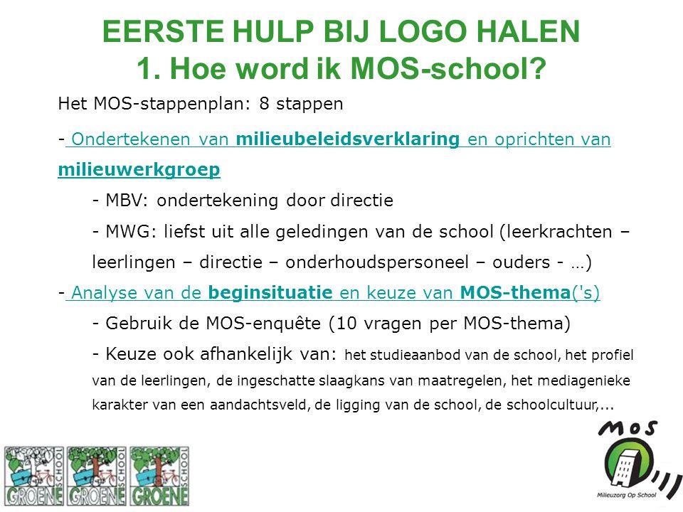 Het MOS-stappenplan: 8 stappen - Ondertekenen van milieubeleidsverklaring en oprichten van milieuwerkgroep Ondertekenen van milieubeleidsverklaring en oprichten van milieuwerkgroep - MBV: ondertekening door directie - MWG: liefst uit alle geledingen van de school (leerkrachten – leerlingen – directie – onderhoudspersoneel – ouders - …) - Analyse van de beginsituatie en keuze van MOS-thema( s) Analyse van de beginsituatie en keuze van MOS-thema( s) - Gebruik de MOS-enquête (10 vragen per MOS-thema) - Keuze ook afhankelijk van: het studieaanbod van de school, het profiel van de leerlingen, de ingeschatte slaagkans van maatregelen, het mediagenieke karakter van een aandachtsveld, de ligging van de school, de schoolcultuur,...