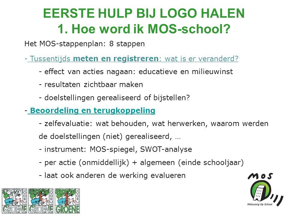 Het MOS-stappenplan: 8 stappen - Tussentijds meten en registreren: wat is er veranderd? - effect van acties nagaan: educatieve en milieuwinst - result