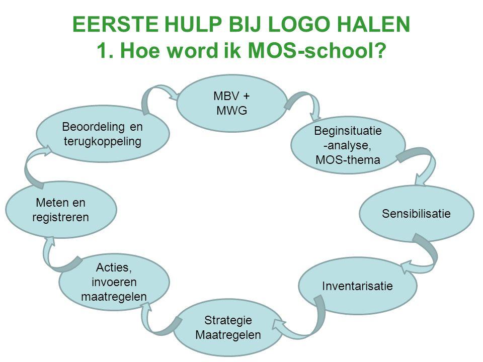 Beoordeling en terugkoppeling MBV + MWG Beginsituatie -analyse, MOS-thema Acties, invoeren maatregelen Inventarisatie Meten en registreren Strategie Maatregelen Sensibilisatie
