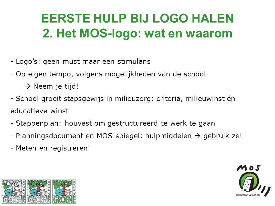 EERSTE HULP BIJ LOGO HALEN 2. Het MOS-logo: wat en waarom - Logo's: geen must maar een stimulans - Op eigen tempo, volgens mogelijkheden van de school