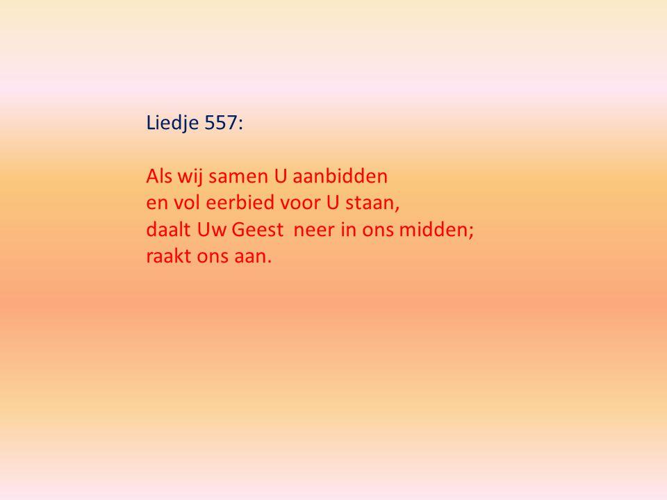 Liedje 557: Als wij samen U aanbidden en vol eerbied voor U staan, daalt Uw Geest neer in ons midden; raakt ons aan.