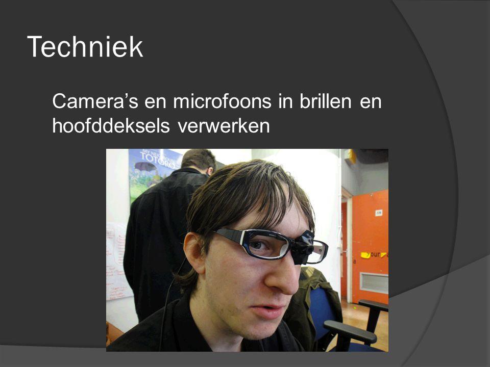 Techniek Camera's en microfoons in brillen en hoofddeksels verwerken