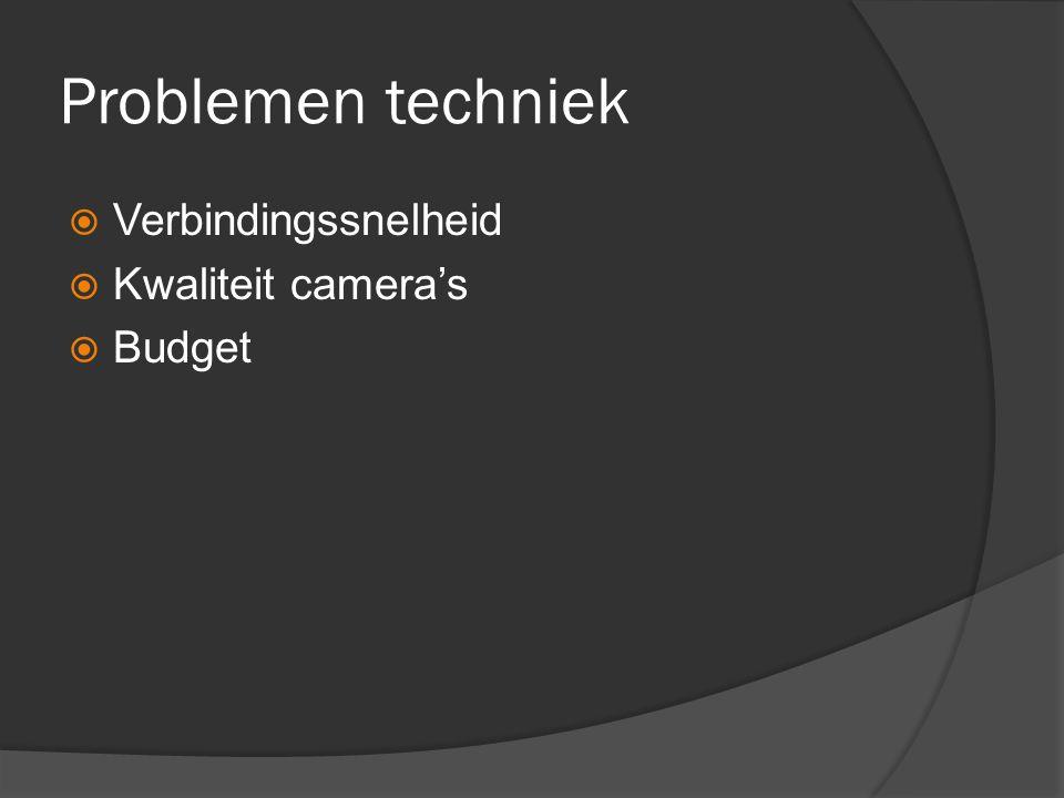 Problemen techniek  Verbindingssnelheid  Kwaliteit camera's  Budget