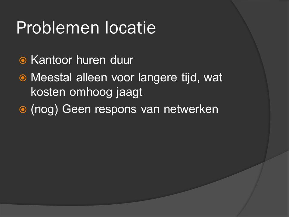 Problemen locatie  Kantoor huren duur  Meestal alleen voor langere tijd, wat kosten omhoog jaagt  (nog) Geen respons van netwerken