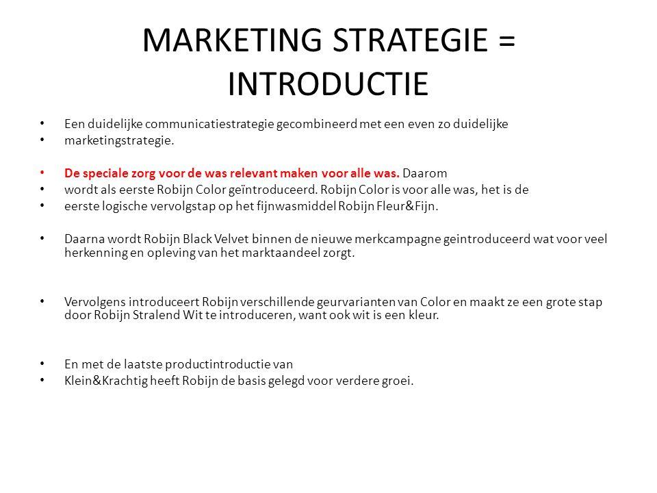 MARKETING STRATEGIE = INTRODUCTIE Een duidelijke communicatiestrategie gecombineerd met een even zo duidelijke marketingstrategie. De speciale zorg vo