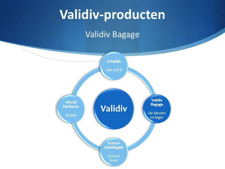 Validiv E-Validiv 4de-5de lj Validiv Bagage Lkr kleuter en lager School- beleidsgids School- team World Factbook Beleid Validiv-producten Validiv Baga