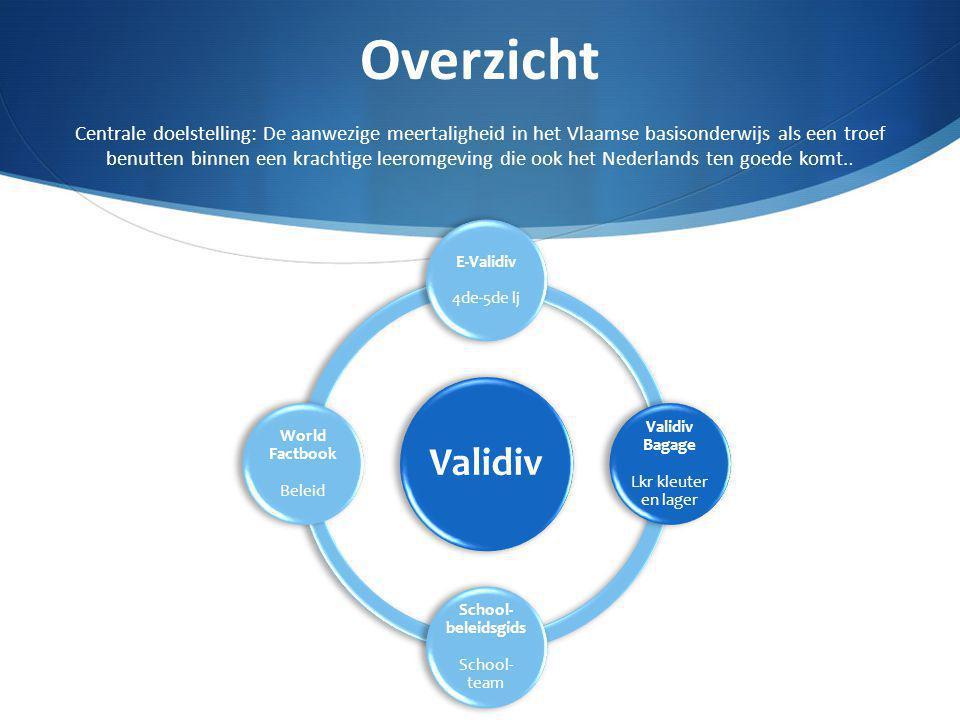Overzicht Centrale doelstelling: De aanwezige meertaligheid in het Vlaamse basisonderwijs als een troef benutten binnen een krachtige leeromgeving die
