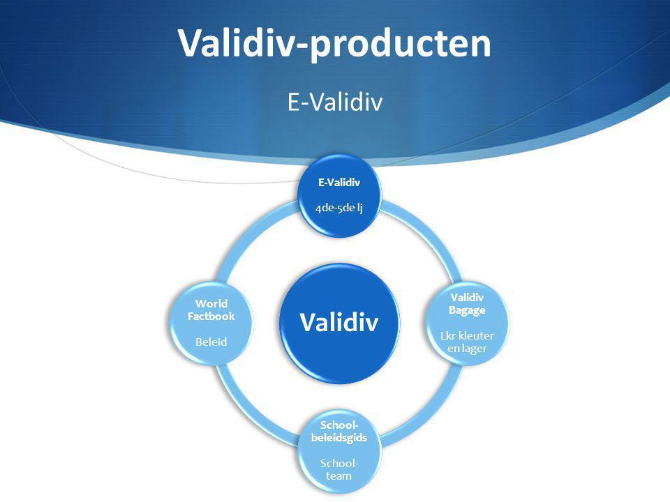 Online meertalige digitale leeromgeving:www.e-validiv.bewww.e-validiv.be Klemtoon op het gebruik van verschillende talen Nederlands én andere taal: Engels – Frans – Italiaans – Pools – Spaans – Turks Wereldoriëntatie Thema's -> subthema's Validiv-producten E-Validiv